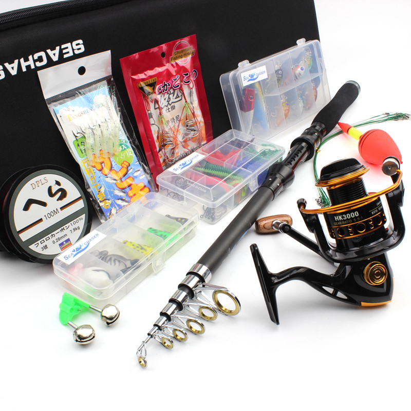 1 8m 3 0m Spinning Rod and Spinning Reels Portable Bag Set carbon rod Travel Fishing