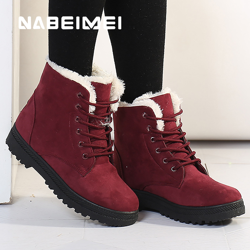 Leather women snow boots waterproof  2017 superstar ankle boots for women plush solid winter warm shoes boot size 35-44 skhek girls boy boots for kid snow botas winter warm plush baby boot waterproof soft bottom non slip leather booties kids shoes