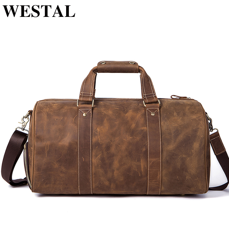 WESTAL Crazy Horse Leather Duffle Bags Vintage Weekend Bag Carry on Luggage Men Computer Laptop Handbag Men Travel Bag Leather