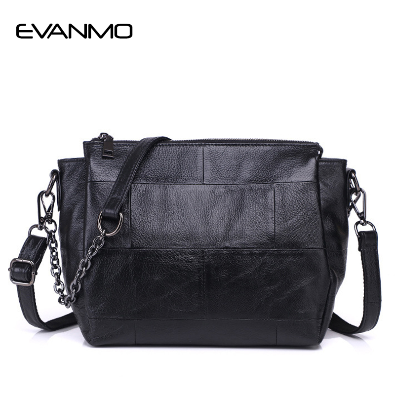Genuine Leather Messenger Bag Women's Shoulder Bag Interior Compartment Women Chain Leather Crossbody Bags With Two Strip E