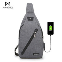 MONSTA X Men Chest Pack Casual Single Shoulder Strap Back With USB Charging Polyester Sling Crossbody