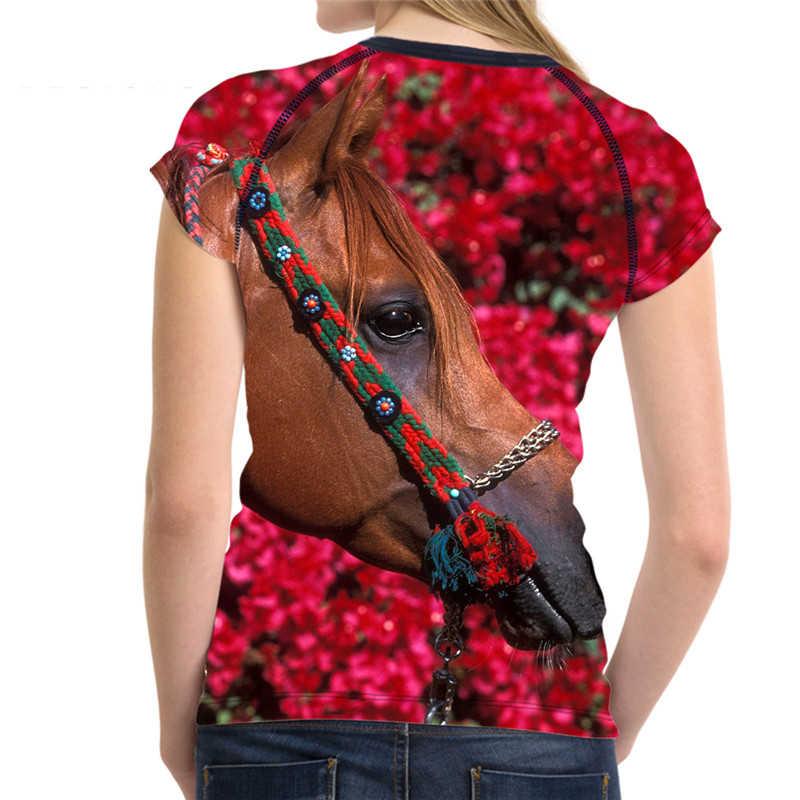 Noisydesigns 3D Crazy Horse Áo T cho Phụ Nữ Casual Ngắn Tay Áo nữ Hàng Đầu Tees Thương Hiệu Quần Áo Nghi Slim Fit Alien Áo XXL