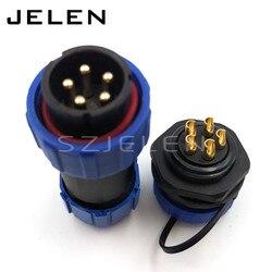 SP21 wodoodporne złącze 5 wtyk pinowy i kabel połączeniowy wodoodporne złącze wtykowe elektryczne IP68 w Złącza od Lampy i oświetlenie na