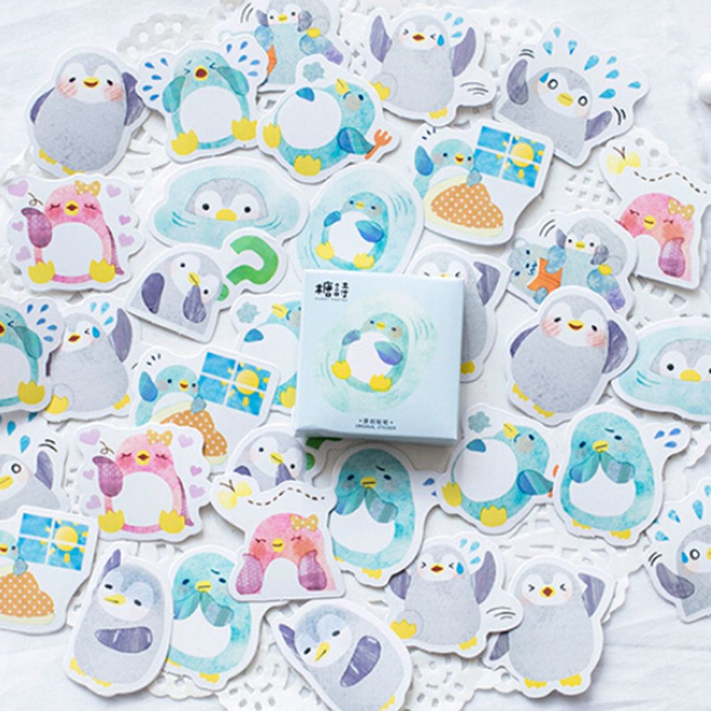 45PCS/PACK DIY Lovely Penguin Decorative Stickers Adhesive Set Stickers Decoration Diary Stickers Box Package