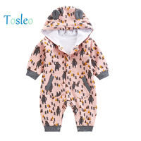 2018 Cartoon Infant Clothes Spring Animal Printed Baby Rompers Autumn Bear Child Costume Baby Rompers Zipper