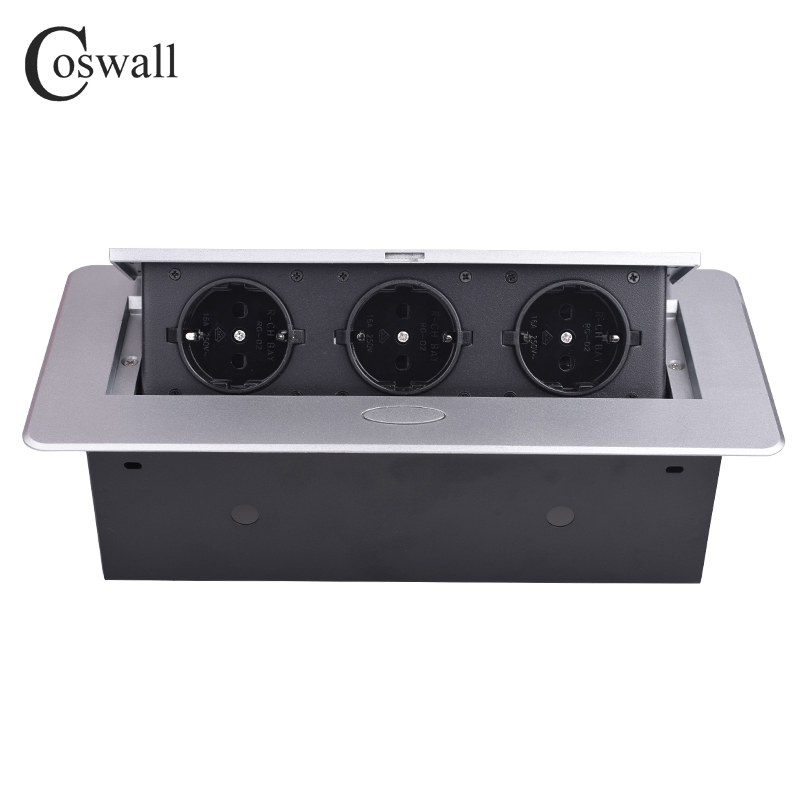 COSWALL Zinc Alloy Plate 16A Slow POP UP 3 Power EU Socket Office Meeting Room Hotel