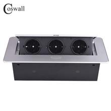 COSWALL 亜鉛合金プレート 16A スローポップ 3 電源 EU ソケットオフィス会議室ホテルテーブルデスクトップ黒アウトレットモジュール鋼ボックス