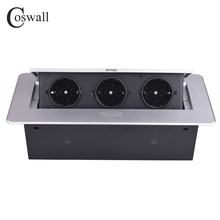 COSWALL Zinc Alloy Plate 16A Slow POP UP 3 Power EU Socket Office Meeting Room Hotel Table Desktop Outlet Black Module Steel Box