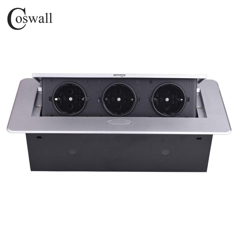 COSWALL Zinc Alloy Plate 16A Slow POP UP 3 Power EU Socket Office Meeting Room Hotel Table Desktop Outlet Black Module Steel Box