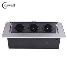 COSWALL Zinklegering Plaat 16A Slow POP UP 3 Power EU Socket Kantoor Vergaderzaal Hotel Tafel Desktop Outlet Zwart module Staal Doos