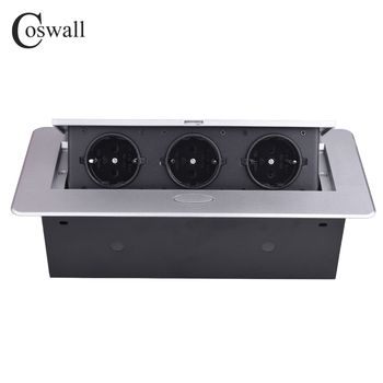 COSWALL Zinklegering Plaat 16A Slow POP UP 3 Power EU Socket Kantoor Vergaderzaal Hotel Tafel Desktop Outlet Zwart module Staal Doos