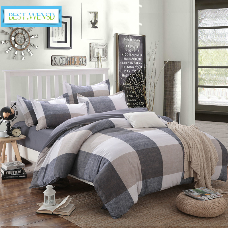 BEST.WENSD High Quality Simple Style Soft Bedding Set 3/4pc Grey -white Plaid California King Size Duvet Cover Sets -no Fade