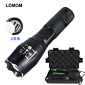 LOMON E17 3800LM XM-L T6 Tactical USB Flashlights Torches Zoomable cree LED Portable Lighting For 18650 rechargeable battery