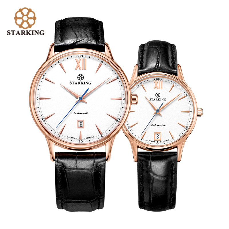 STARKING Luxury Men Women Mechanical Watch 2019 Fashion Lover's Gift Sapphire Crystal Dial Automatic Calendar Couple Timepieces