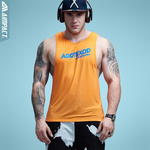 Aimpact Фитнес мужские топы Sexy Бодибилдинг Костюмы низким вырезом проймы Activewear летние майки Crossfit тренировки Топы AD55