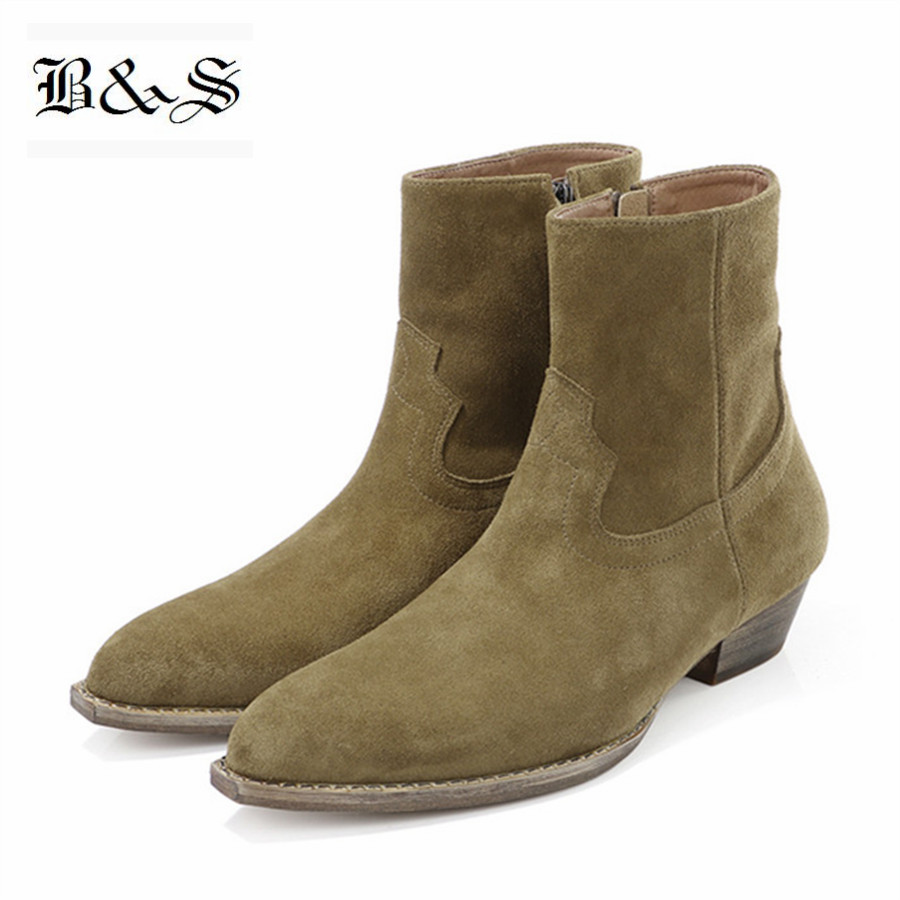 Black& Street 2019 Slim Fit Boutique handmade Suede Leather wedge  ankle  short Chelsea Boots cowboy denim zipper botas bootsBlack& Street 2019 Slim Fit Boutique handmade Suede Leather wedge  ankle  short Chelsea Boots cowboy denim zipper botas boots