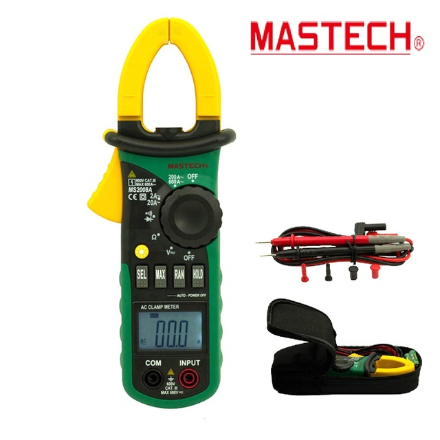 2017 NEW MASTECH MS2008A Digital Clamp Meters Auto Range Clamp Meter Ammeter Voltmeter Ohmmeter w/ LCD Backlight