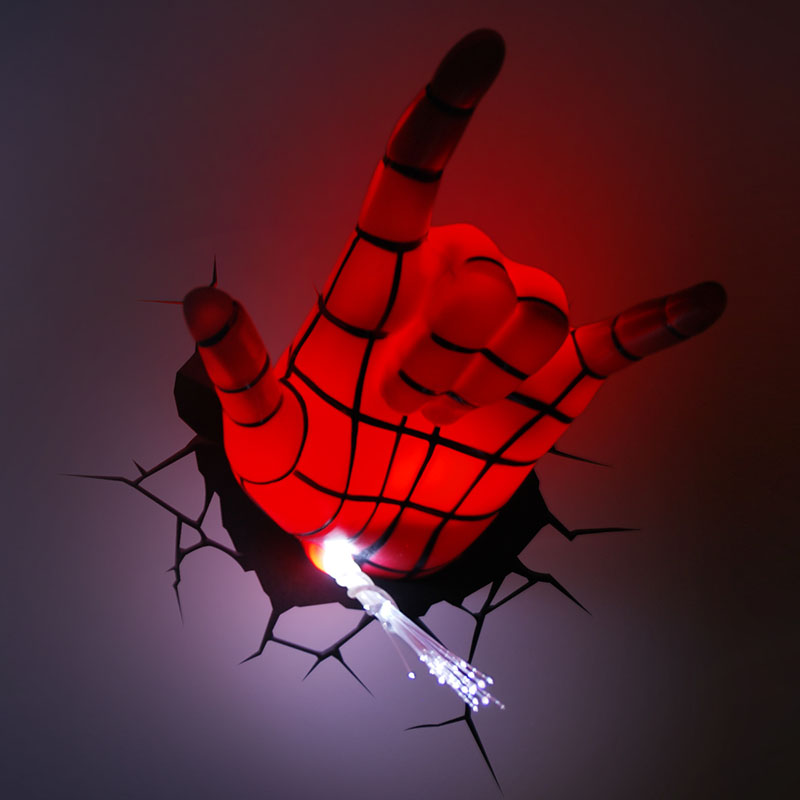 The avengers hand spider man mask hand style wall lamp 3d deco led the avengers hand spider man mask hand style wall lamp 3d deco led wall light night light art bedroom decoration gift in night lights from lights lighting aloadofball Choice Image