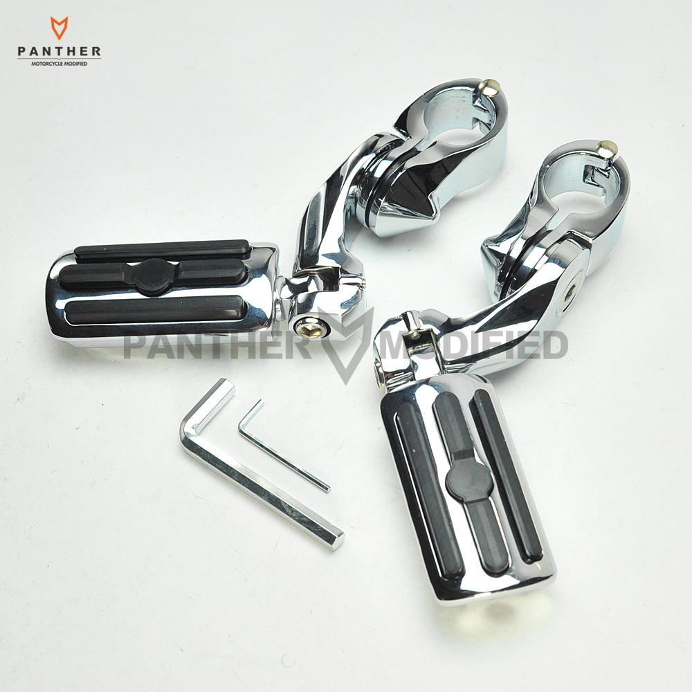 Chrome 32mm Motorcycle Short Angled Adjustable Foot Rest Foot Pegs Case For Harley Dyna Sportster 1-1/4