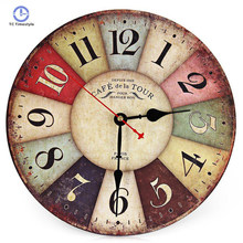 676c1443696 Relógios de parede em Estilo Europeu Retro Vintage Rústico Rodada Colorido  Casa Relógios New Arrival 3d Grande Relógio de Parede