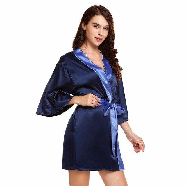 bluetime female satin bath robes plus size gown dressing short