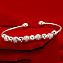 Women's 925 sliver Open Hand Cuff Bangle 9 Lucky Beads Bracelet(China)