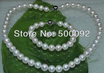 AA 9mm near round white freshwater pearl Sets necklace & bracelet & earring