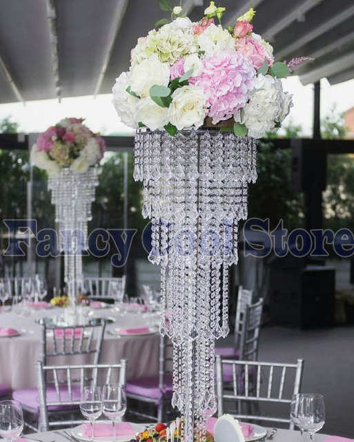 Crystal Table Centerpiece With Bead Strands Flower Stand 80cm(H) Wedding  Decoration