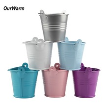 OurWarm 2Pcs Wedding Gift Flower Box Mini Metal Bucket Candy Party Favors Pot Birthday New year 2018