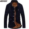 Бренд-Одежда мужская Мода зима твердых толщиной рубашка вскользь уменьшают подходящие мужская одежда Плюс бархатные рубашки 14 цвет 5XL MXB0204