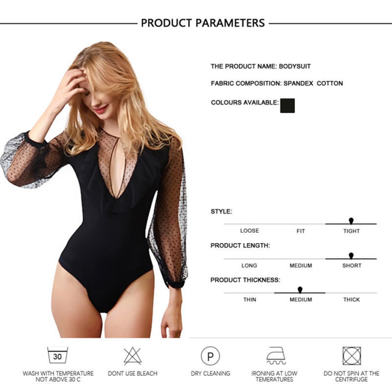 Womens Lace Long Sleeve Bodysuit Leotard Bodycon Bandage Jumpsuit V-neck Black Tops