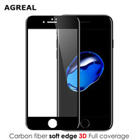 AGREAL 3D Full Curved  Tempered Glass For Apple iPhone 7 6 6s Premium Real 9H Carbon Fiber Film Full Screen Cover Protector case