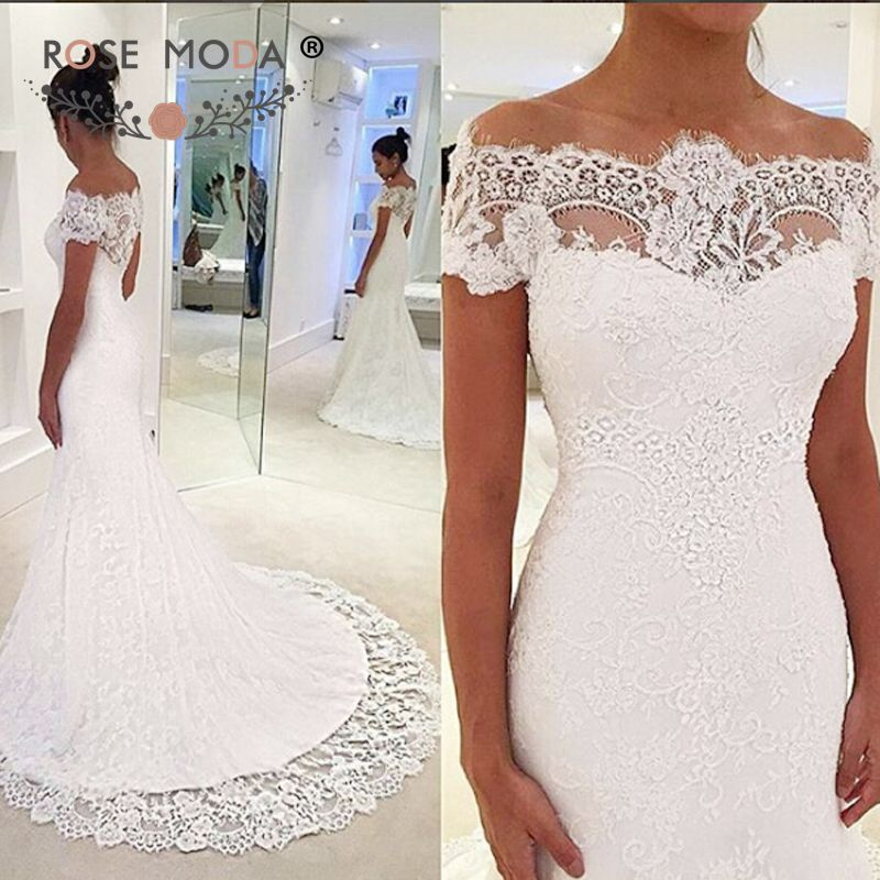 Stunning Off Shoulder Short Sleeves Chantilly Lace Mermaid