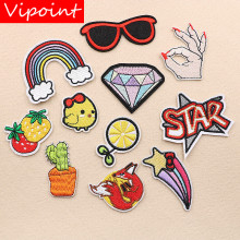 VIPOINT embroidery cactus fox patches chick cartoon badges applique for clothing XW-69