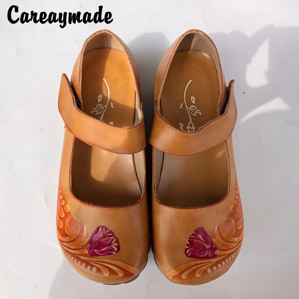 Hot,2016 Folk style Head layer cowhide pure handmade Carved shoes,the retro art mori girl shoes,Women's casual Sandals, 1510-23