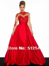 Best selling Long Sleeves Prom Dresses High Neck A Line Opne Back Beads Applique Taffeat yk8F515
