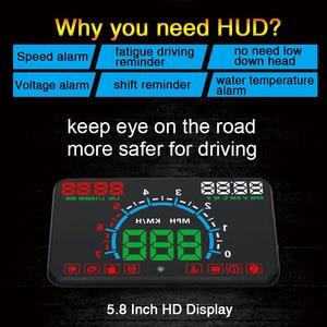 """Image 5 - באיכות גבוהה 5.8 """"Hud OBD2 ראש למעלה תצוגה רכב מהירות מקרן רכב שמשה קדמית ספידו ניווט מד מהירות צ דוויק E350"""