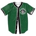 Мужские рубашки 3d Каннабиса и Кофе-Джерси Уличная ПАНК топы лето тис бейсбол рубашки с Одной Грудью рубашки