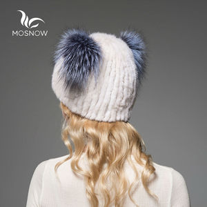 Image 4 - 2019 Brand New Hat Female Winter Real Mink Fur With Cute Cat Ear Knitted Striped Solid Casual Women Hat Caps Bonnet Femme