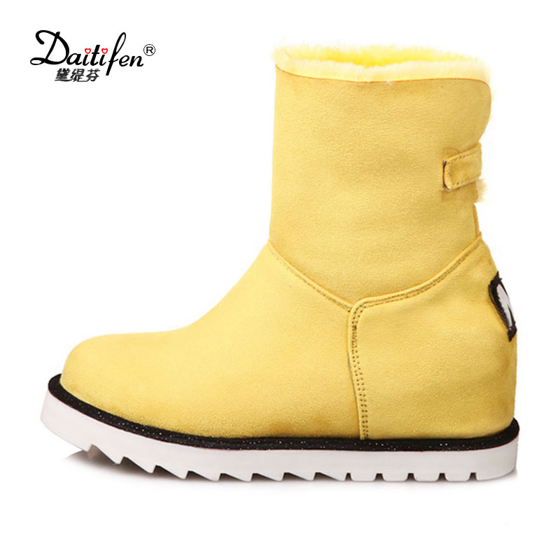 Daitifen Winter Plush Snow Boots Women Warm Ankle Boots Increase Height Woman Platform Boots Winter Shoes botas Black Red Purple