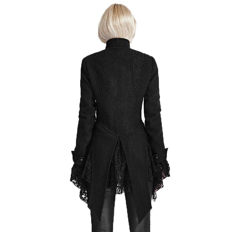 Vestes Femmes Montant Manteau De Punk Dentelle Pour Automne Manteaux Laine Asymétrique Col Gothique Couture Femelle Black Manches Hiver Longues wvq6pXq7