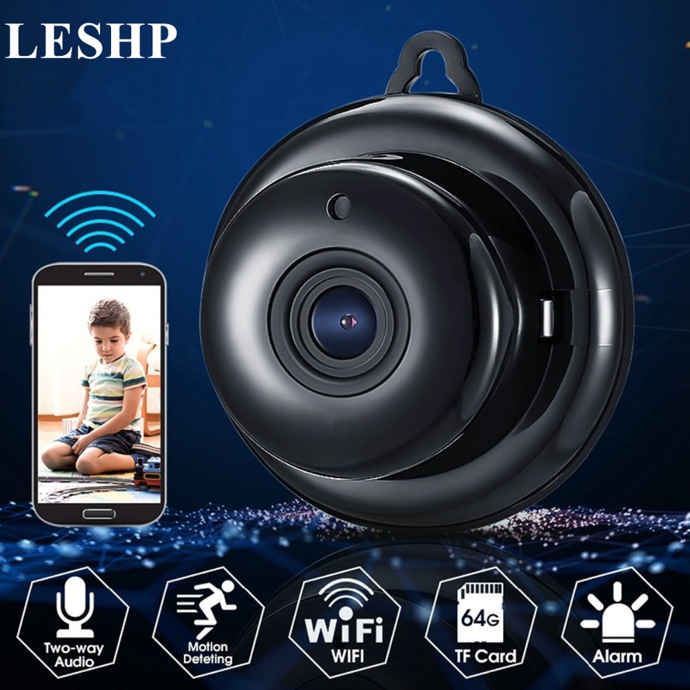 LESHP WIFI Mini IP Camera With Mic Speaker Night Vision HD 960P Motion Detection Alarm Two-way Intercom Monitor Support TF CardLESHP WIFI Mini IP Camera With Mic Speaker Night Vision HD 960P Motion Detection Alarm Two-way Intercom Monitor Support TF Card