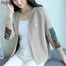 Neploe elegantes cárdigan corto manga larga cuello redondo tejido suéteres  2018 otoño mujer moda Vintage apliques punto 33555 23106ee08c00