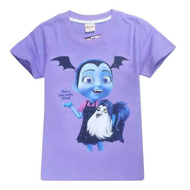 100% хлопок футболка Обувь для девочек летняя футболка детские футболки для девочек Junior vampirina вамп batwoman топы; детская одежда блузка