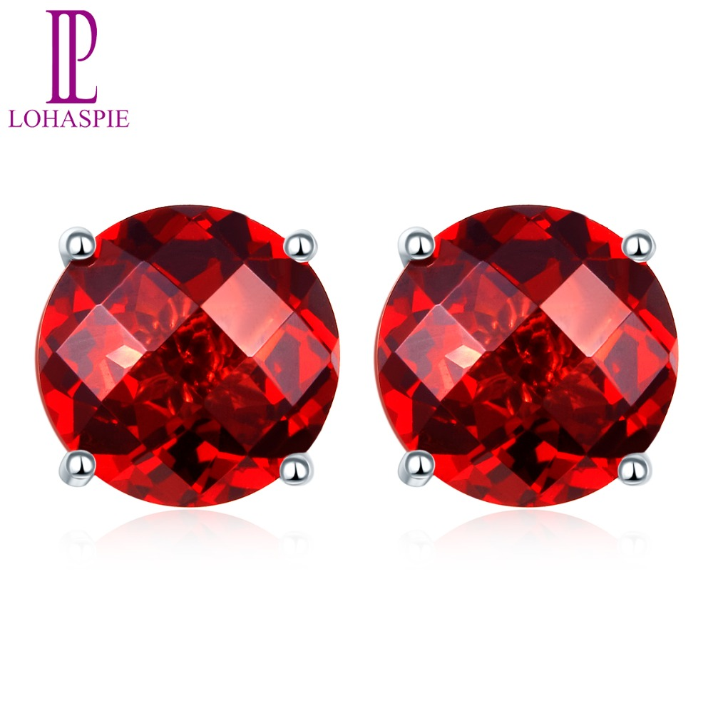 Lohaspie solid 14K white Gold 4mm/5mm/6mm Checkerboard Cutting Natural Garnet Stud Earrings New Arrival For Women's Fine Jewelry