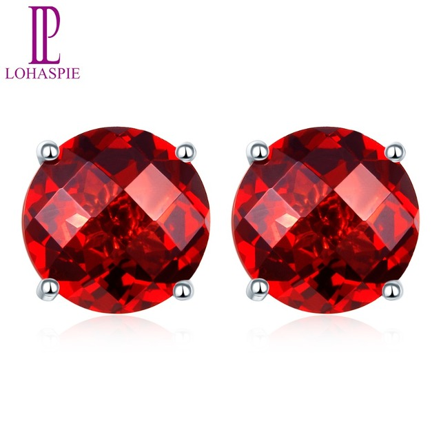 Lohaspie Solid 14k White Gold 4mm 5mm 6mm Checkerboard Cutting Natural Garnet Stud Earrings