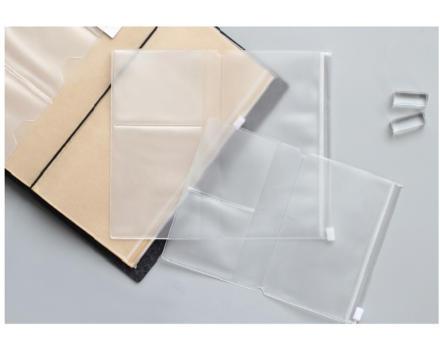 Pvc Zipper bag FOR Traveler's Notebook Accessory card pocker bag storage A5/L Standard/M/ S Passport  4size for cowhide diary