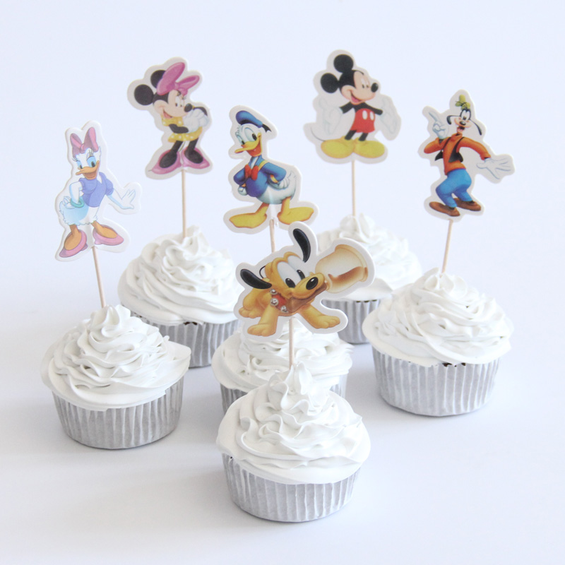 24pac/lot Mickey Mouse And Donald Duck Cupcake Topper Happy Birthday Party Baby Shower Children Party Kids Cake Decor Supplies