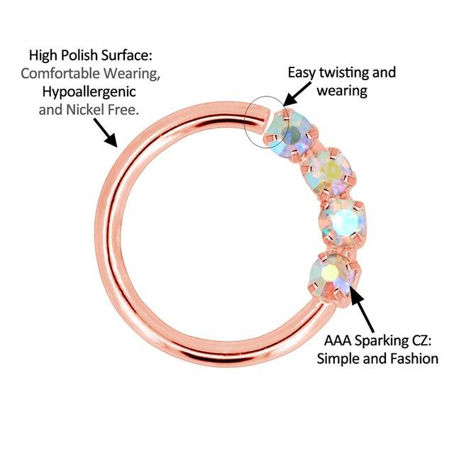 Фото кольцо в виде кольца для носа 18 г гибкие серьги с блестящими цена