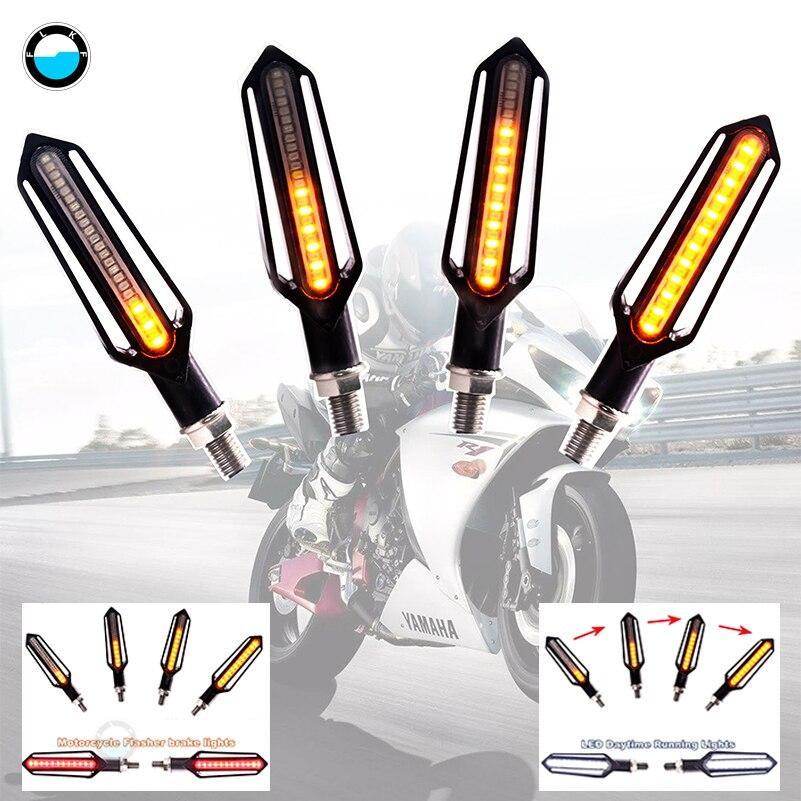 4pcs Three use Flowing Water lighting LED motorcycle turn signal red brake font b lamp b
